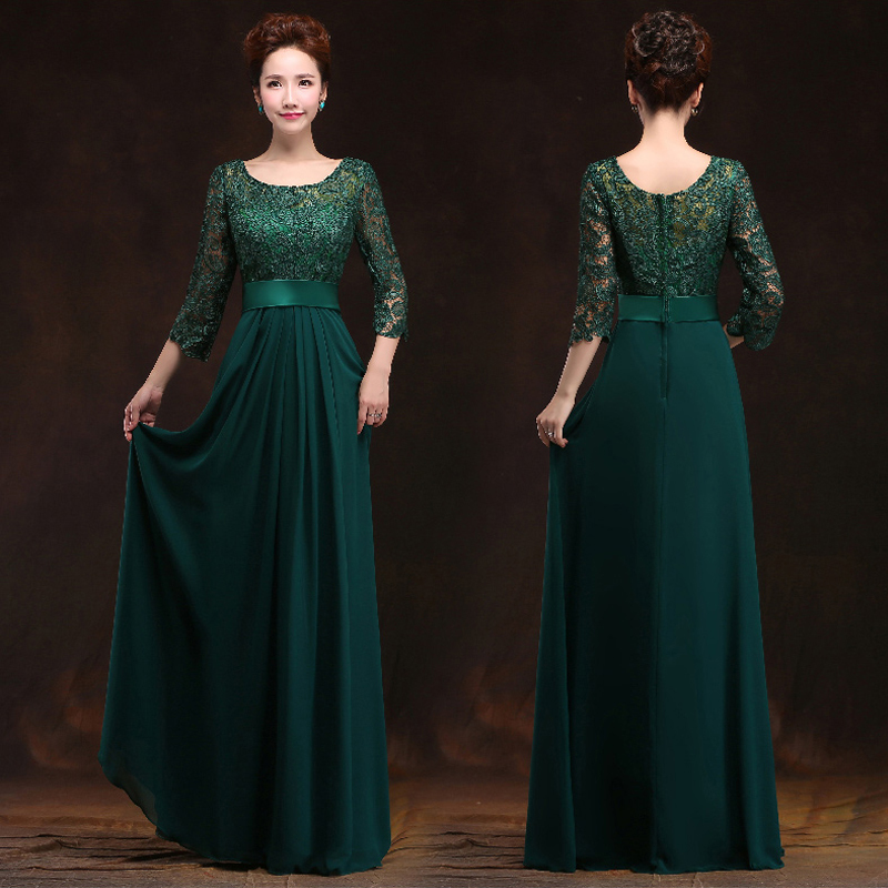 2015 New Arrival O-neck A-line Chiffon Long Mother Of The Bride Lace Dresses With Half Sleeves