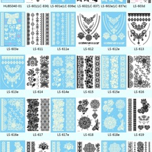 Wholesale LS series-10pcs/lot long lasting New Lace White/Black Henna Tattoo Sticker Totem Temporary Tattoo Body Art 21x15cm