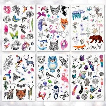 Waterproof Temporary Tattoo Sticker Watercolor Cute little animal pattern tattoo Water Transfer body art fake tattoo