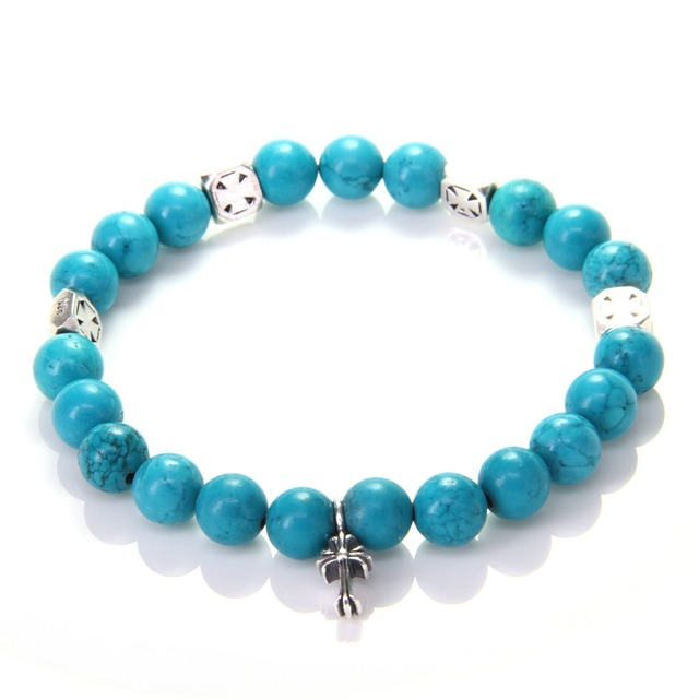 HEMISTON Turquoise & 925 Sterling Silver Cross Bead Bracelets with Cross Charm, 14CM-24CM, Women and Men Fine Jewelry TS 012