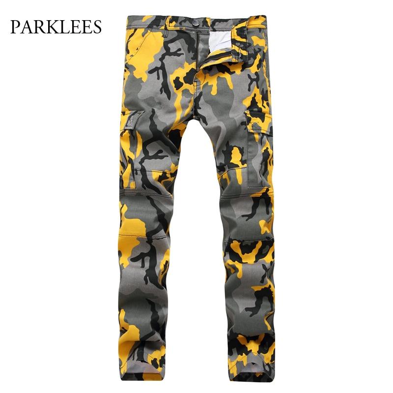 Camouflage Jeans Pants Men Jeans Homme 2017 Autumn Colorful Design Motocycle Camo Biker Jeans Hip Hop Mens Denim Work Overalls