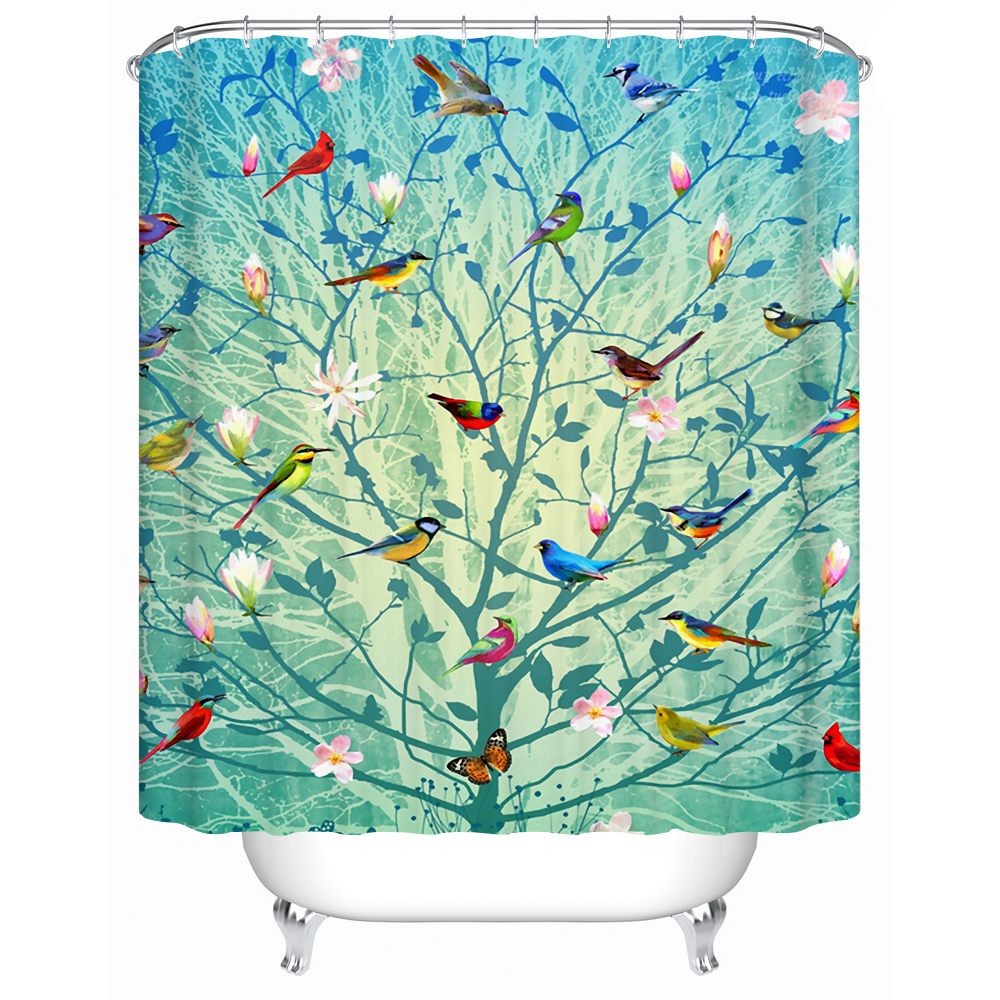Beautiful Bird Stands on The Tree Eco Friendly Shower Curtain Bathroom Curtain Acceptable Custom Waterproof Shower