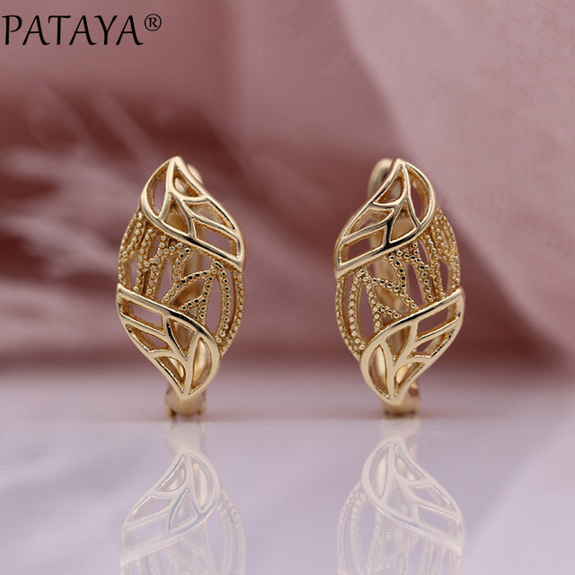 PATAYA New 585 Rose Gold Leaf White Natural Zirconia Dangle Earrings Women Micro Wax Inlay Luxury Wedding Party Fashion Jewelry