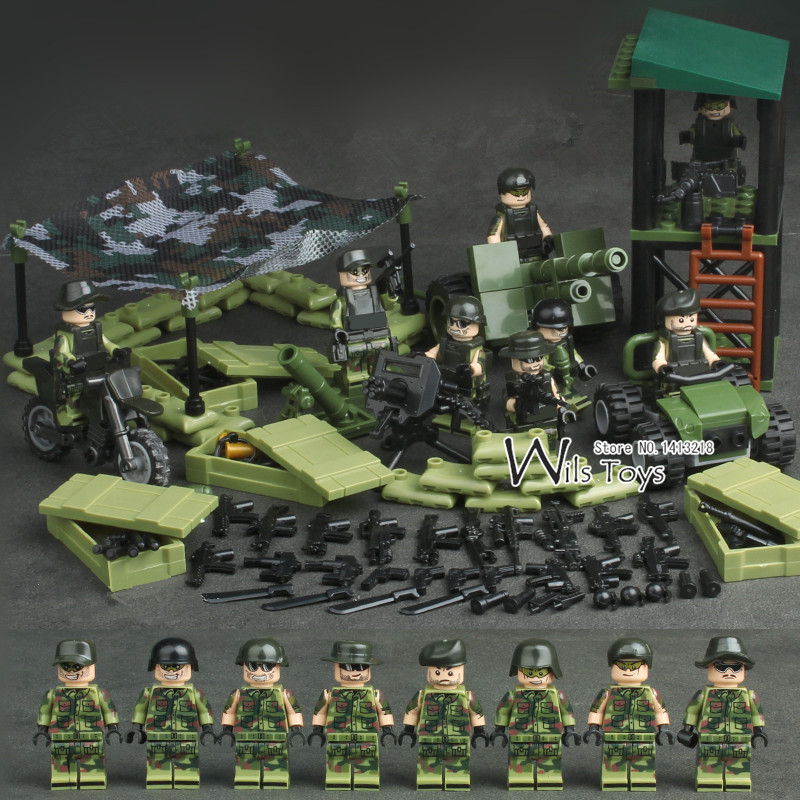 4 in 1 Jungle Special Force MILITARY Army WW2 SWAT Camouflage Soldier Navy Seals Team Mini Building Blocks Brick Figures Toy Boy gonlei 6 in1 mini task force jungle commando figures weapon building blocks military army camp model bricks toy compatible doll
