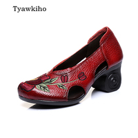 Tyawkiho Women Leather Sandals Embroidery 6 CM High Heels Red Slip On Summer Shoes Hollow Out
