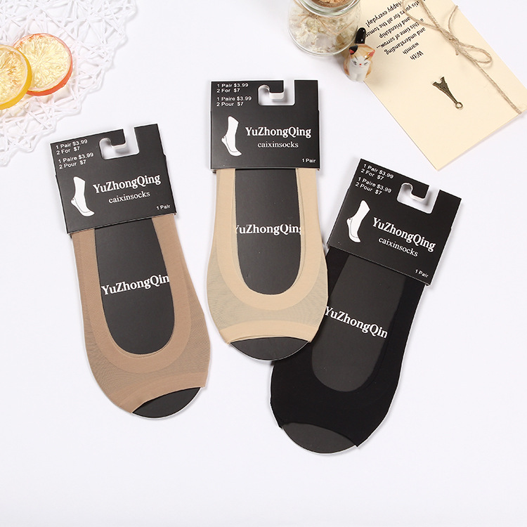 Summer Thin Section Invisible Stealth Silicone Socks Female Seamless Ice Silk Open-toe Fish Socks