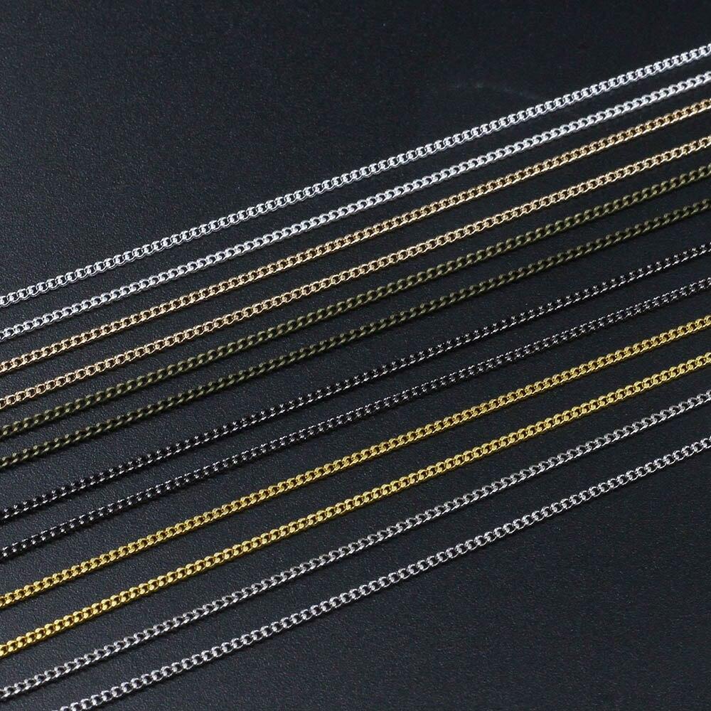 купить 5 10m/lot Silver/Gold/Bronze/Rhodium Color Plated Necklace Chains Brass Bulk For DIY Jewelry Findings Making Materials Handmade по цене 97.92 рублей