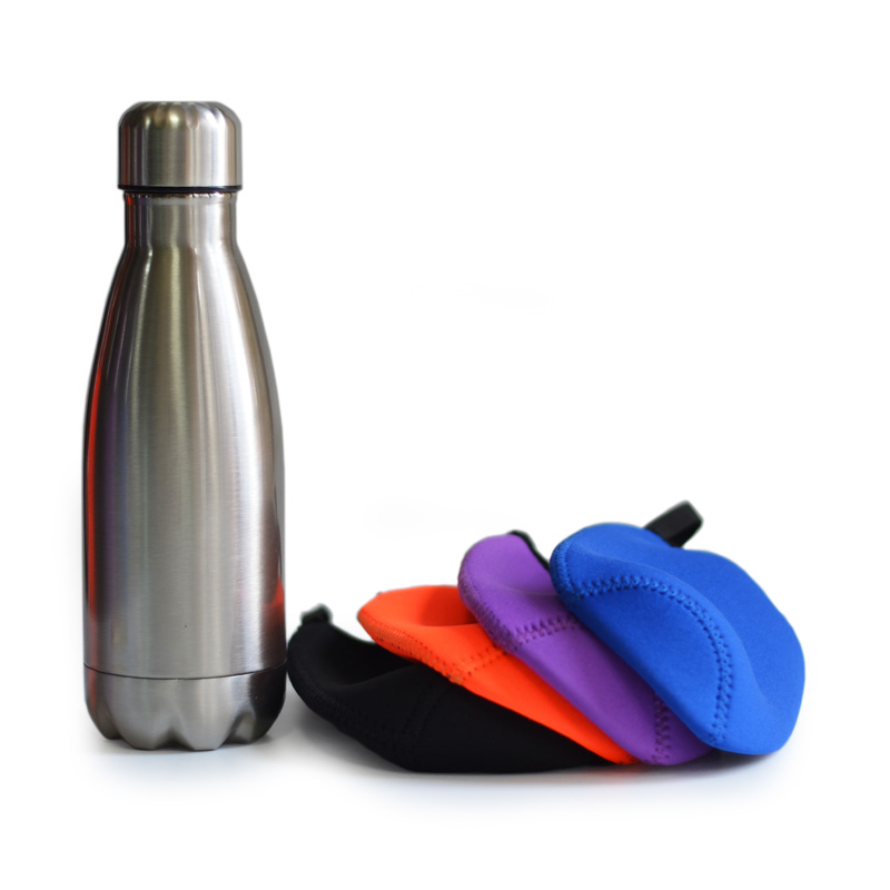 Vacuum Flask Double Wall Stainless Steel Thermos Insulated Sports Water Bottle Mug Cup Neoprene Sleeve 350mL