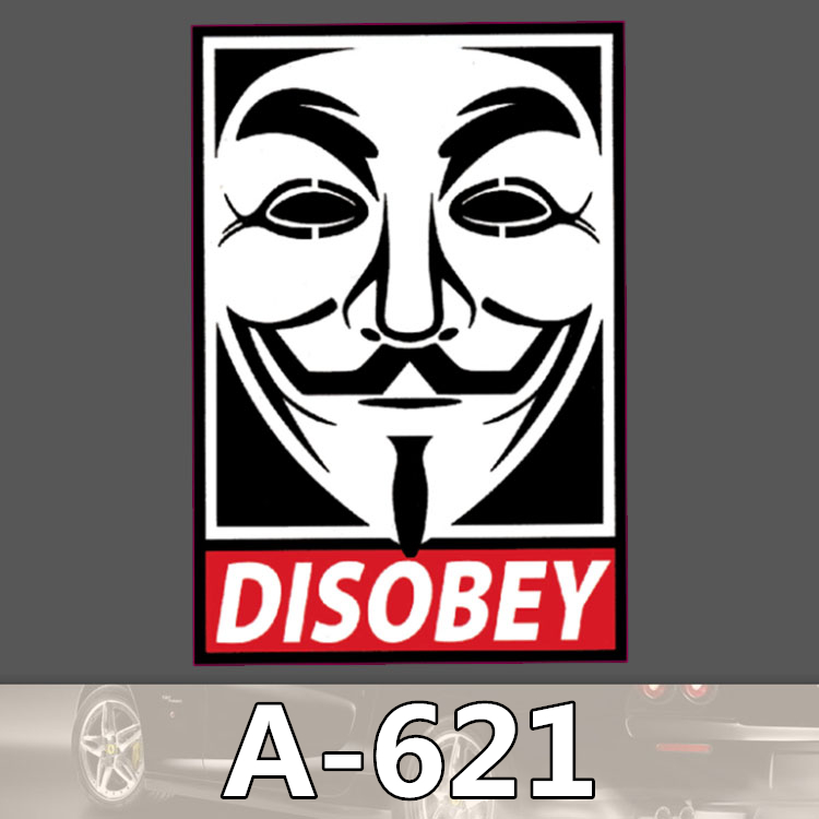 A 621 Disobey Waterproof Cool DIY Stickers For Laptop Luggage Fridge Skateboard Car Graffiti Cartoon Sticker