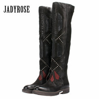 Jady Rose 2019 New Ethnic Patchwork Women Over The Knee Boots Black Slim Fit High Boots Rivets Studded Platform Flat Boats Mujer