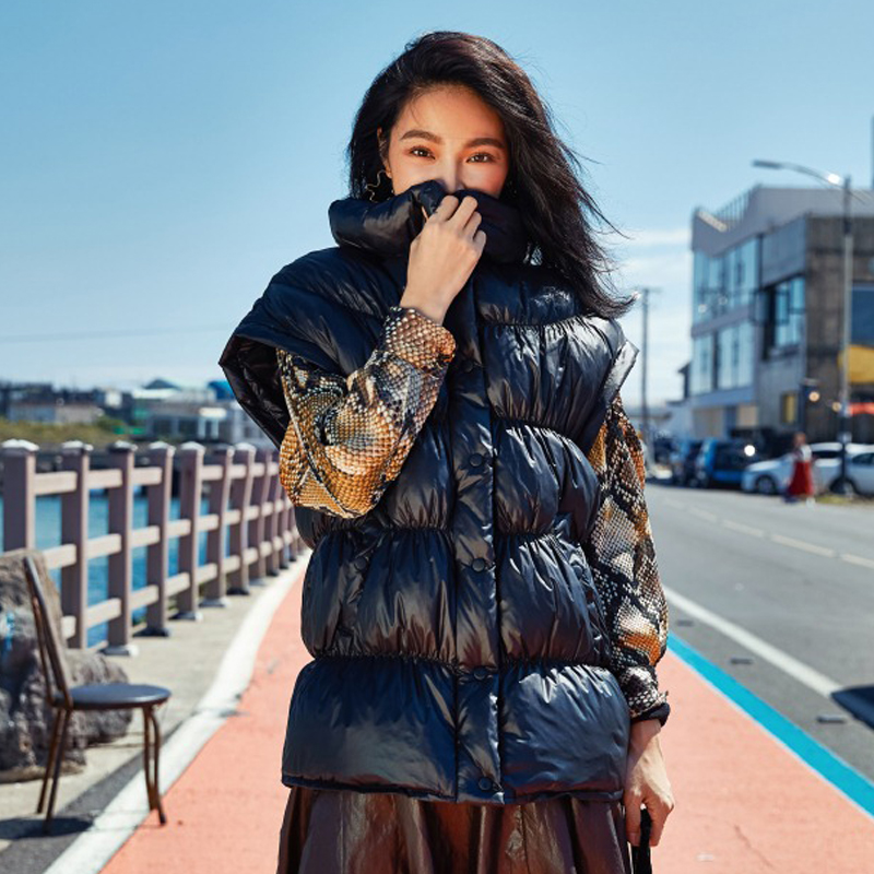 Gilet Chic Duvet Manches Solide Manteau Beige Chaud 2019 Ao788 Canard Vêtements noir Femmes Sans Printemps Nouvelle Épais De Conception Marque Xvqgw88