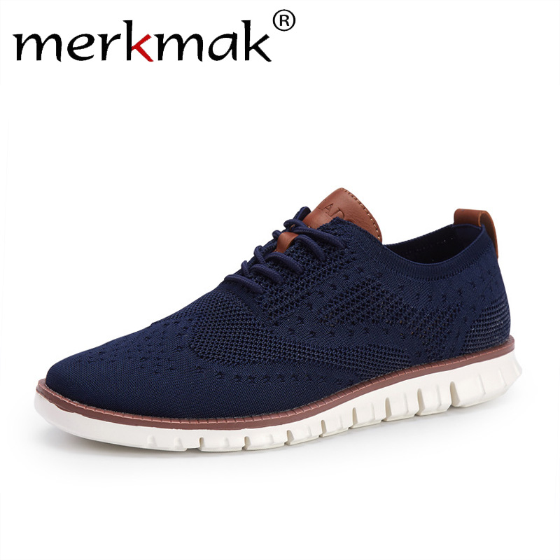 Merkmak Casual Knitted Mesh Men's Shoes Solid Shallow Lace Up Lightweight Soft Men Sneakers Shoes Breathable Man Footwear Flats