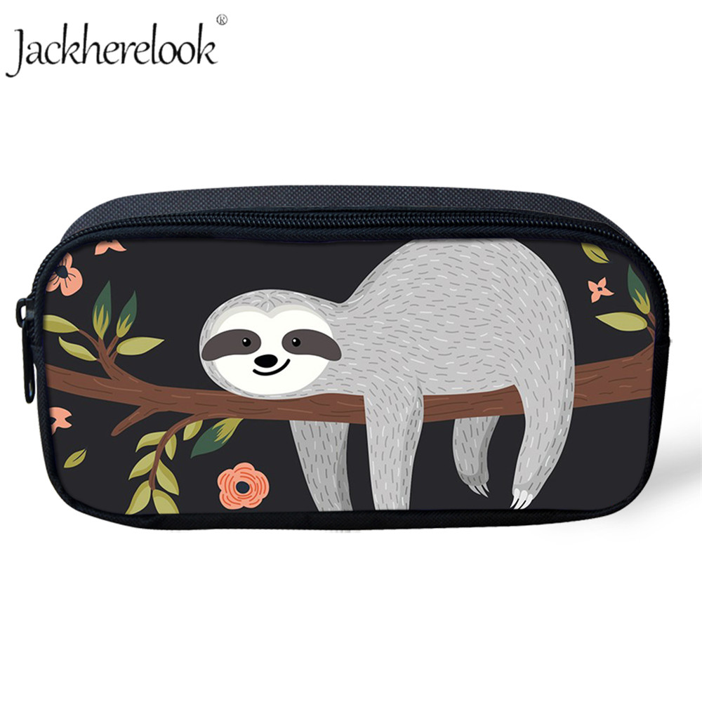 Jackherelook Fashion Students Children's Pencil Bags Cute Sloth Animal Print Women Girls Cosmetic Bag Makeup Pouch Organizer Bag