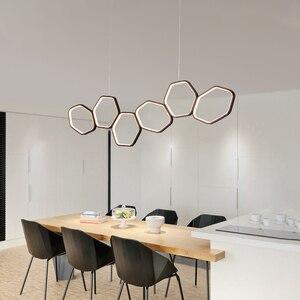 Image 3 - NEO זוהר מינימליזם מודרני LED נברשת עבור אוכל מטבח חדר סלון לבן או קפה צבע תליית נברשת גופי