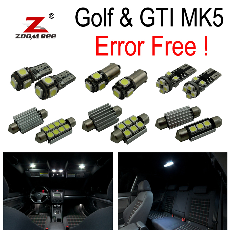 17pc X canbus for VW Volkswagen GTI Rabbit Golf 5 MK5 MK V LED lamp interior light + Parking city light kit package (2006-2009) free shipping 11x vw golf 5 gt 2003 2008 white led lights interior package kit canbus 107