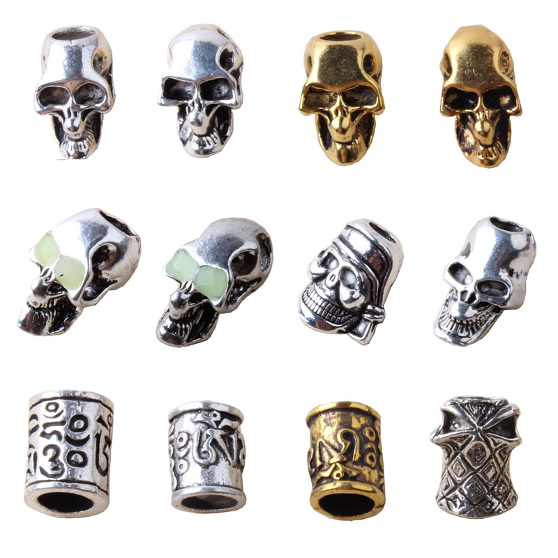 Paracord Beads Metal Charms Skull For Paracord Bracelet Accessories Pendant Buckle For Paracord Knife Lanyards
