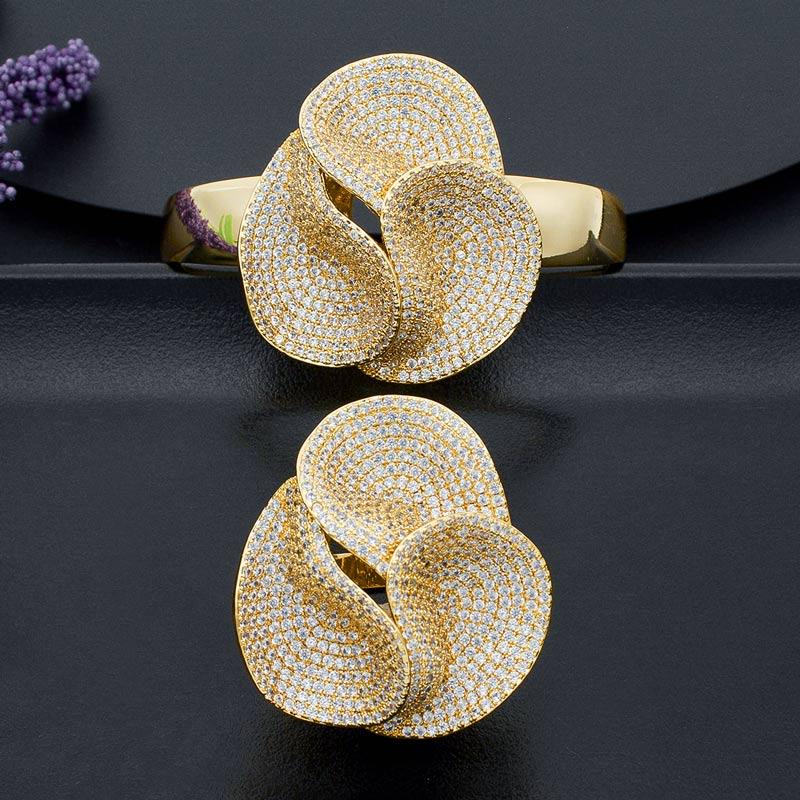 ModemAngel particulièrement complet Micro pavé cubique Zircon cuivre Bracelet Bracelet bague ensemble robe bijoux ensembles pour les femmes
