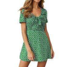 Women summer dress Fashion Casual Short Sleeve Dress Dot Printing A-Line Dress Beach V-Neck Ladies summer dress