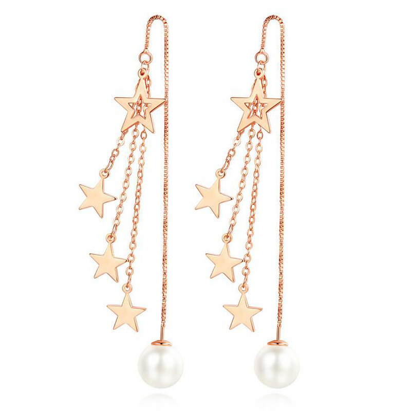 Fashion <font><b>Rose</b></font> <font><b>Gold</b></font> Silver Color Cute Star Pearl Long Chain Tassel Dangle <font><b>Earrings</b></font> For Girls Women Cocktail Party Gift <font><b>Jewelry</b></font> image