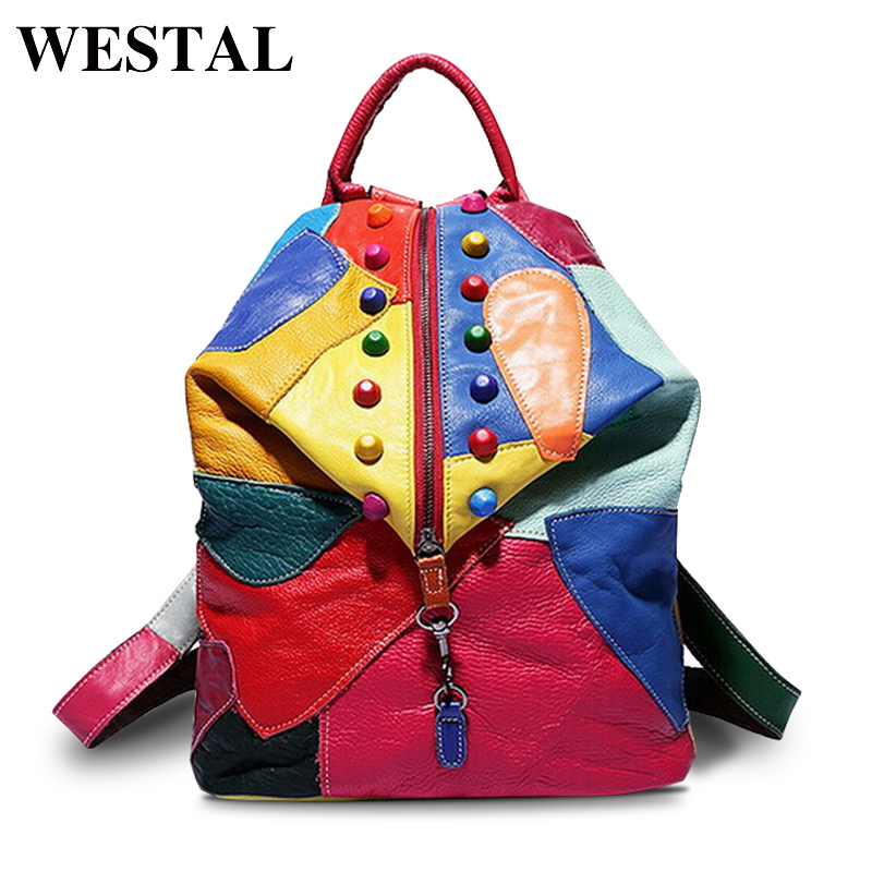 WESTAL Colorful Women Backpack Genuine Leather Backpack Famous Brand Lady Leather Laptop Backpacks School Bag for teenage girls wilicosh bag backpack women genuine leather women backpack brand famous bag women 2016 backpacks for teenage girls mochila wl401