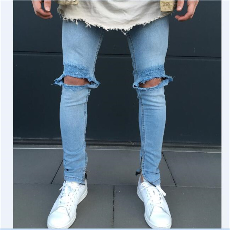 font b Men b font Holes Blue Ripped Scratched Denim Super Skinny Slim Fit font