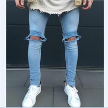 Men Holes Blue Ripped Scratched Denim Super Skinny Slim Fit Jeans