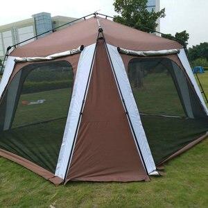 Image 2 - 5 8 사람 사용 야외 접는 텐트 빠른 자동 열기 Pergola 더블 레이어 캠핑 텐트 증가 방수 태양 대피소