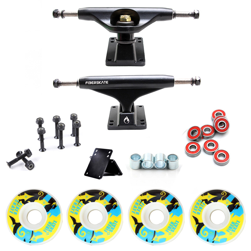 New 5in Skateboard Trucks Combo Set 5230mm Wheels Aluminum Magnesium Alloy Professional Bridge Skate Board Bracket Free Shipping