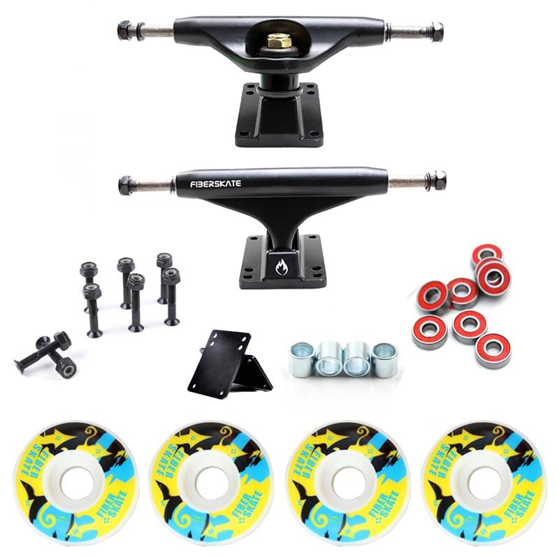 New 5in Skateboard Trucks Combo Set 5230mm Wheels Aluminum Magnesium Alloy Professional Bridge Skate Board Bracket Free Shipping