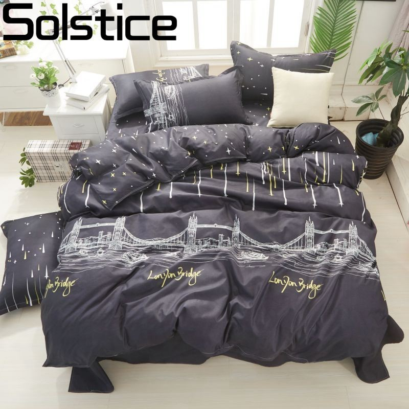 Solstice Home Textile London Bridge Black Linen Boy Kid Teen Bedding Set Duvet Cover Pillowcase Flat Bed Sheets Girls Bedclothes