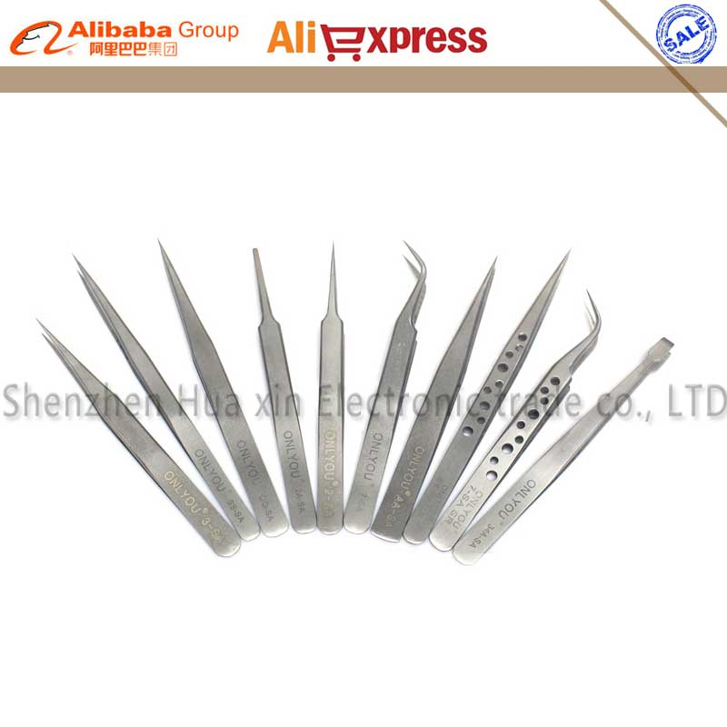 10pcs/set Precision High hardness Tweezers tools set stainless steel Tweezers Antimagnetic Acid proof FOR watch phone electronic цена
