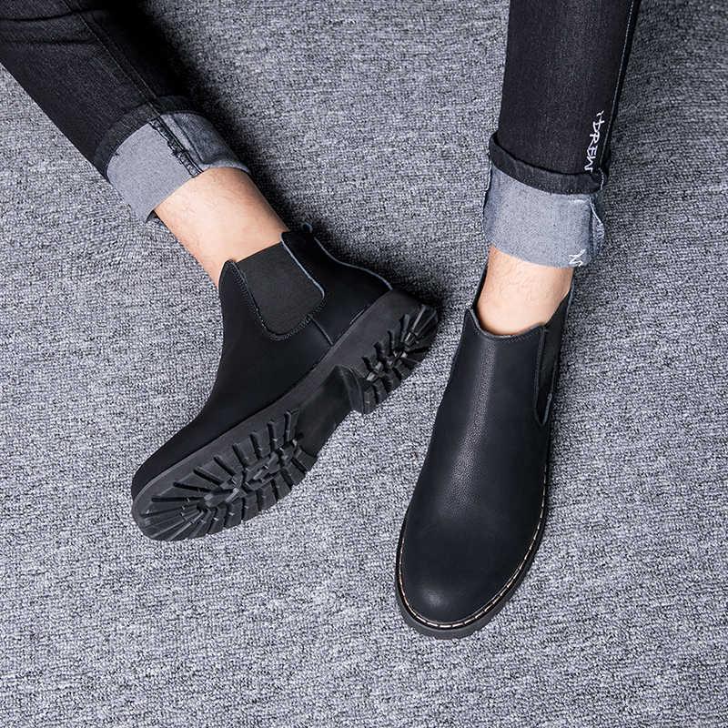 Größe 38-45 Chelsea Stiefel Männer Winter Schuhe Schwarz Split Leder Stiefel Herren Schuhe Warm Plüsch Pelz Winter Stiefel für Männer
