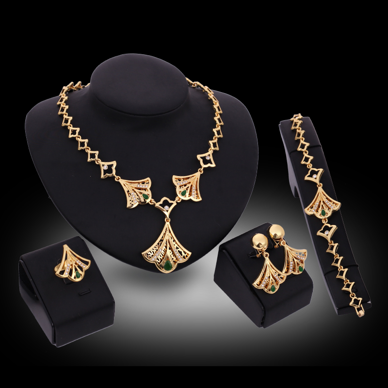 Aliexpresscom Buy Fine Jewelry Sets Fan Gold Color Crystal