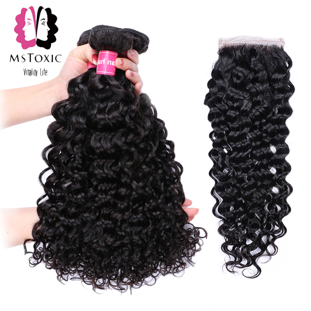 MSTOXIC Water Wave Bundles With Closure Human Hair Bundles With Closure Brazilian Hair Weave Bundles With