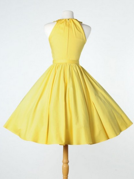 3649c7e690 1950s swing dress Vintage 50s Halter Yellow Pleated Pin up Rockabilly  Dresses For Party Outside-in Dresses from Women s Clothing on  Aliexpress.com