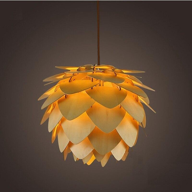 Современные подвесные светильники шишка Кухня Лампа для столовой Гостиная светодио дный ресторан LED Лофт освещение Винтаж Дерево подвесно...