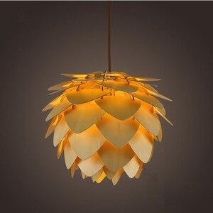 Image 1 - Moderna Lampade a sospensione Pigna Lampada Della Cucina per la Sala Da Pranzo Soggiorno Ristorante LED Illuminazione Loft Vintage Lampada In Legno
