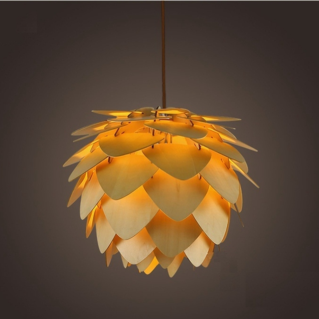 Moderna Lampade a sospensione Pigna Lampada Della Cucina per la Sala Da Pranzo Soggiorno Ristorante LED Illuminazione Loft Vintage Lampada In Legno