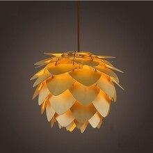 Nowoczesne lampy wiszące Pinecone lampa kuchenna do jadalni salon restauracja oświetlenie led loftowe Vintage drewniana lampa