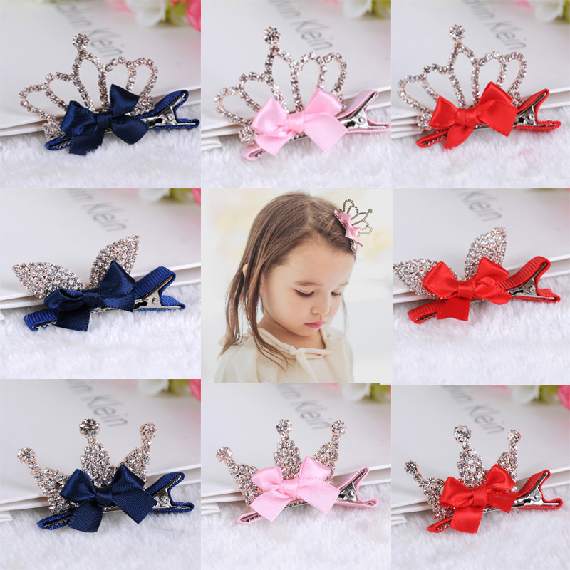 Lovely Girls Shiny Crown Hairpins Rhinestone Crystal Princess Queen Hair Clip Rabbit Ears Bowknot Barrettes Hair Accessories