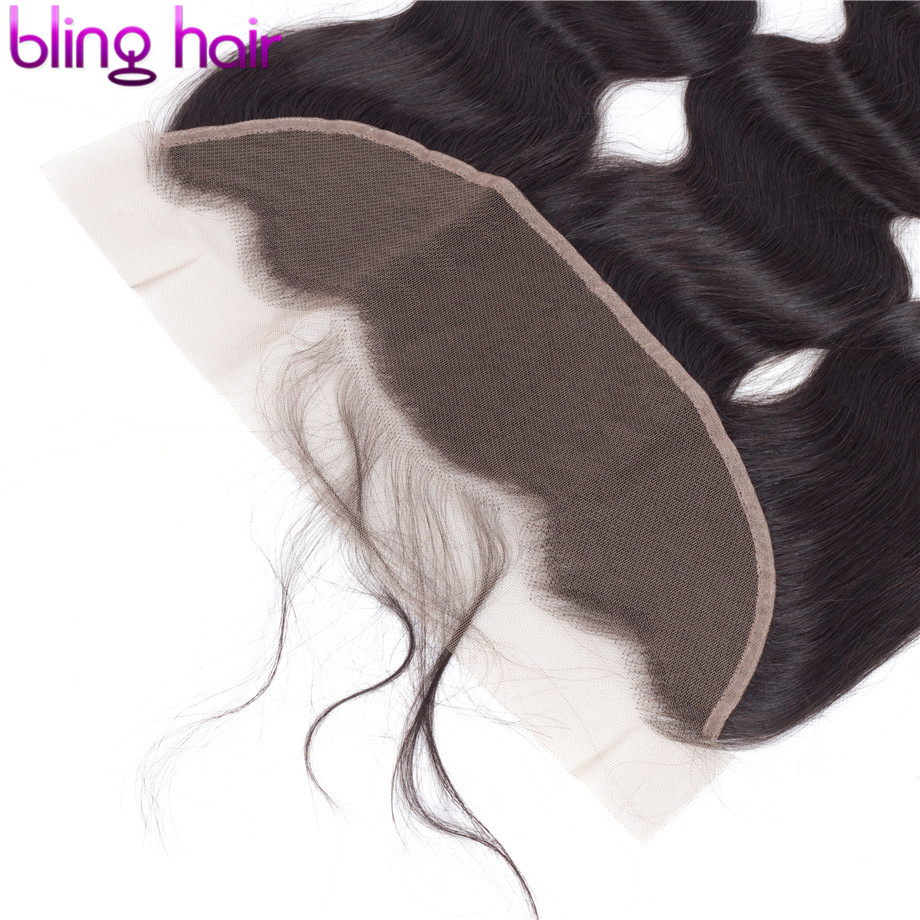 Image 4 - Bling Hair Body Wave Lace Frontal Human Hair Closure with Baby Hair 13*4 Middle/Free/Three Part Brazilian Remy Hair Nature Color-in Closures from Hair Extensions & Wigs