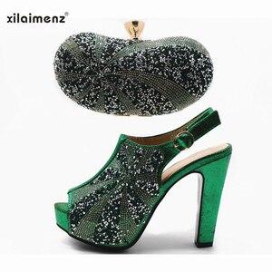 Image 2 - Vente chaude chaussures et sac couleur or haute qualité chaussures italiennes femmes et sac pour correspondre à la chaussure de fête africaine Super talons hauts