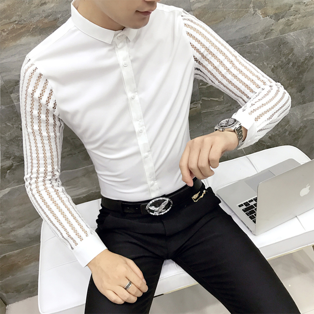 Men Shirt 2019 Spring Hollow Lace Patchwork Long Sleeve Shirt Men Streetwear Mens Shirts Casual Slim Fit Night Club Dress Tuxedo 2