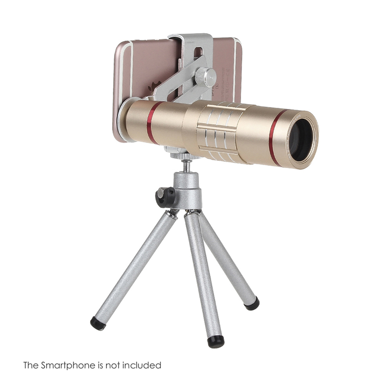 Universal 18x zoom lens Magnification Optical Camera Telephoto Lens Telescope With mini Tripod For Iphone Smartphone Gold 7