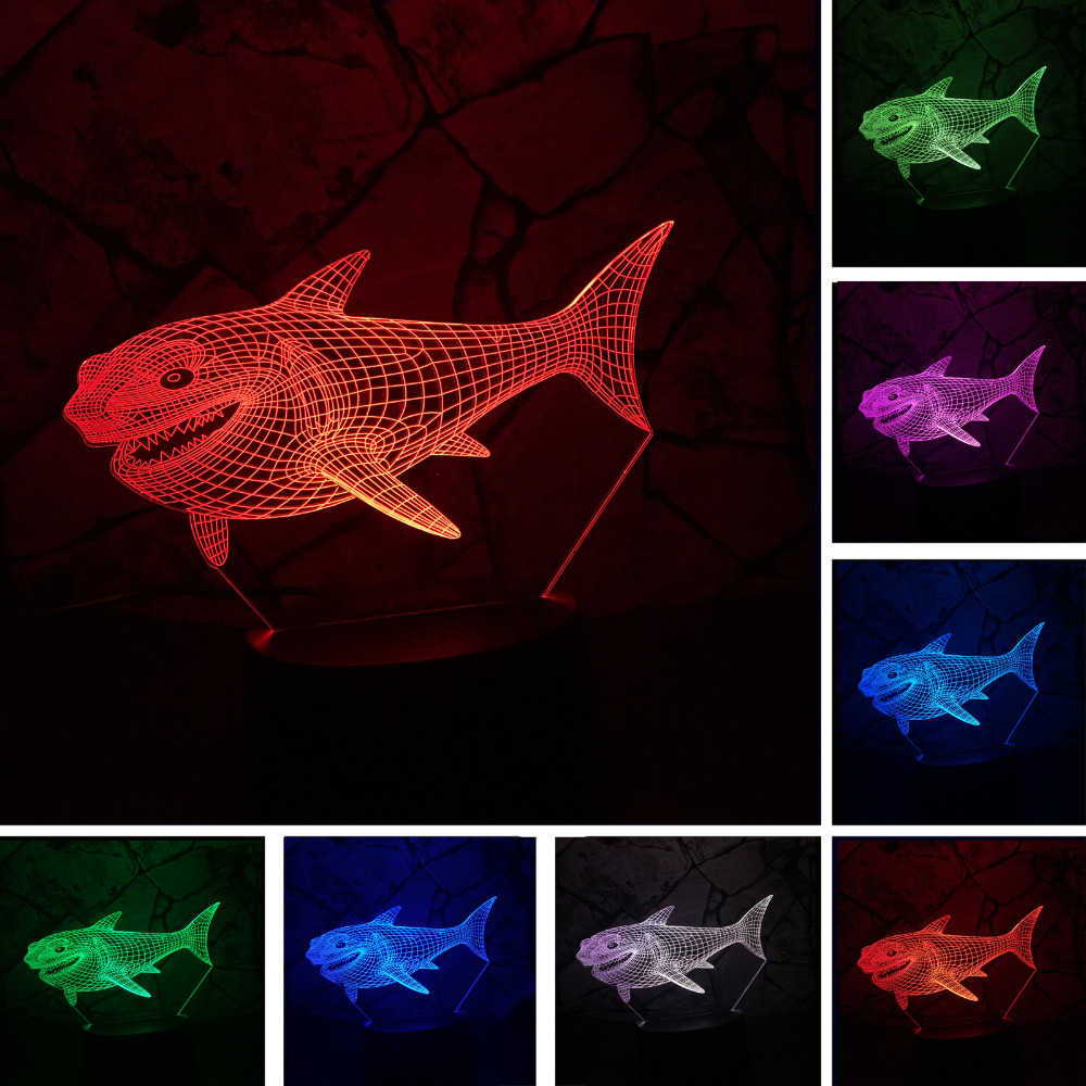 3D Shark Night Light Optical Illusion Table Light Lamp Mood Touch 7 Color for Nursery Home Light Party Decor Friend&Holiday Gift