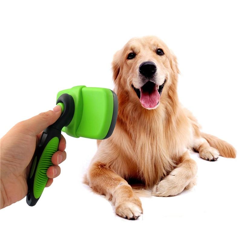 Pet Уход за лошадьми щетка расческа Собака самоочистки пуходерка для маленький большой собаки Cat Короткие Длинные волосы, зелено-голубой