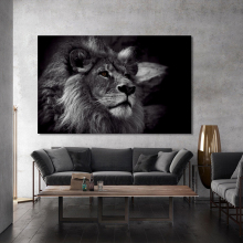 Wall Paintings Animal Posters and Prints Art Canvas Black Lion Pictures for Living Room Home Decoration No Frame