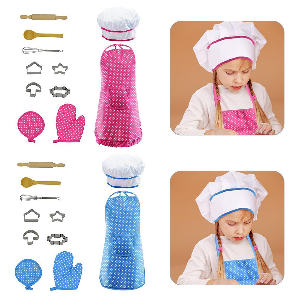 11Pcs/Set Kitchen Toy Children Cooking Utensils Kitchen Supplies Set Chef Set For Kids Cooking Play Set With Apron Chef Hat
