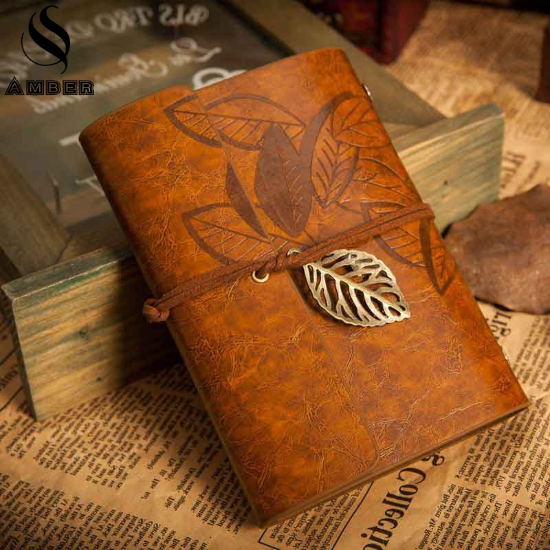 2018 Genuine Leather Vintage Leaf Notebook Daily Planner Writing Agenda Journal Notepad for Office School Stationery Supplies