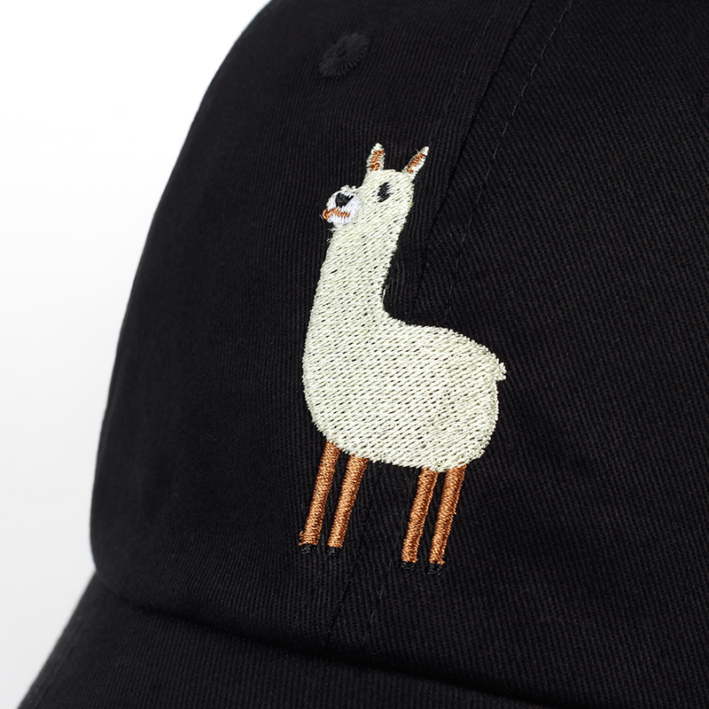 VORON new Unisex Alpaca Embroidery Adjustable Dad Hat men women cute Black beige Alpaca Baseball Cap 3